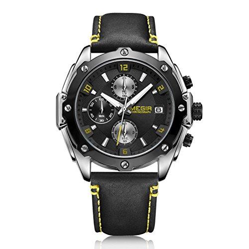 Herren Quarzuhr, Lederarmband, vielseitige wasserdichte Uhr mit Kalender und Nachtuhr 45mm Silber-Schwarz
