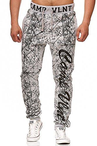 L.gonline | Herren Trainingshose | Jogginghose | Sporthose | Zebra Design | hochwertig Bedruckt | 594 | (S-2XL/XXL) (3XL, Grau)