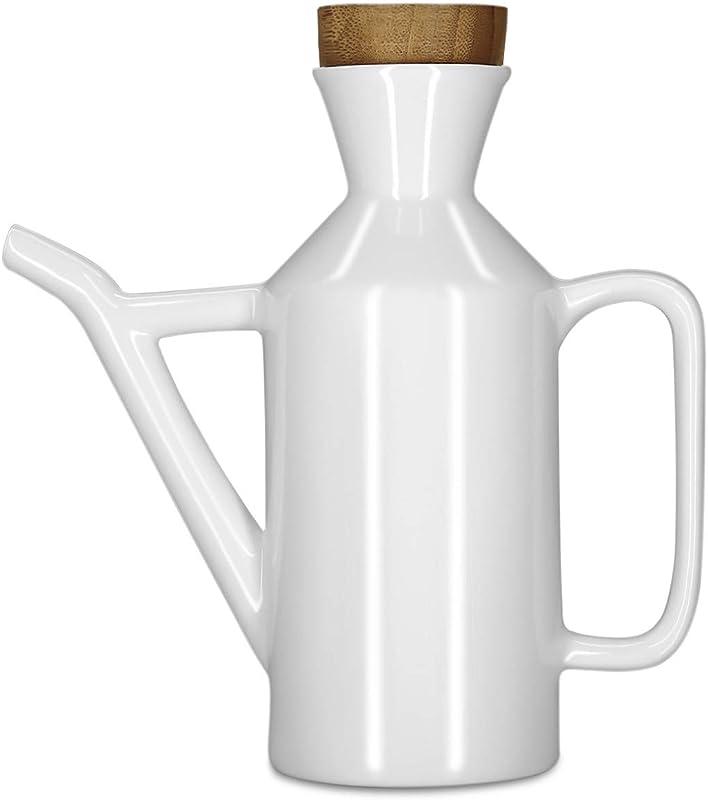 Vinkoe Kitchen Olive Oil Dispenser Bottle Soy Sauce Or Vinegar Cruet With Pourer 15 2 OZ Modern White Ceramic Tabletop Liquid Condiment Dispenser