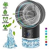 Aire Acondicionado Portatil, mini aire acondicionado personal, aire acondicionado con enfriador de aire 4 en 1, 2 temporizadores, 3 velocidades con LED de 7 colores para el hogar y la oficina (negro)