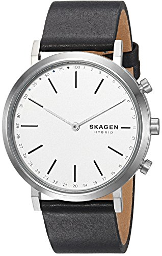 Skagen Connected Women's Hald Stainless Steel and Leather Hybrid Smartwatch, Color: Silver, Black...