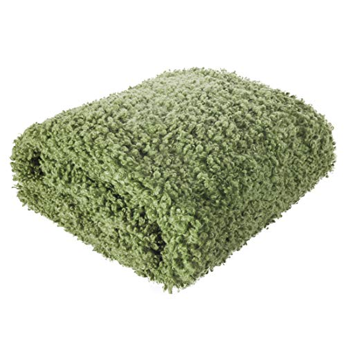 Eurofirany Decke Tagesdecke Wohndecke Flauschig Haariges Fell Fellimitat Weich Wohnzimmer Schlafzimmer Couchdecke Sofadecke Überwurf, Olivgrün, 150x200cm