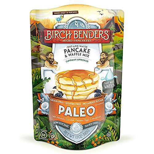 Paleo Pancake & Waffle Mix by Birch Benders, Low-Carb, High Protein, High Fiber, Gluten-free, Low Glycemic, Prebiotic, Keto-Friendly, 12 oz