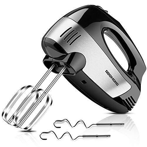 REDMOND Hand Mixers Electric, Upgrade 5-Speed 300W Power Hand Mixer with Turbo Handheld Kitchen Mixer Includes Beaters, Egg Sticks and Dough Sticks, Black