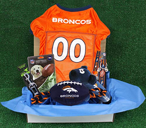 NFL Denver Broncos PET GIFT BOX with 2 Licensed DOG TOYS, 1 Logo-engraved NATURAL DOG TREAT, 1 NFL JERSEY, 1 NFL Puppy Training Bells & 1 Car Seatbelt