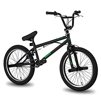 Hiland 20 Inch Kids Bike BMX Bicycles Freestyle for Boys Teenagers Black Green