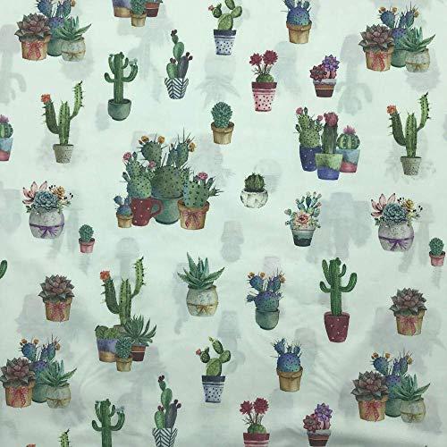 Tela por metros de Patchwork - Estampación digital - 100% algodón - 140 cm ancho - Largo a elección de 50 en 50 cm | Cactus en macetas - Verde, blanco