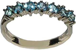 LetsBuyGold 14k Yellow Gold Real Genuine Blue Topaz Womens Eternity Ring
