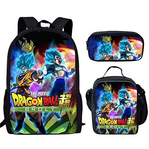 Woonn Anime Dragon Ball Zaino Di Grande Capacità Set Borsa Da Scuola Per Computer Per Studenti Set Di Tre Pezzi Per Pasti Per Uomini E Donne, 5