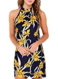 Fantaist Mini Dress,Halter Scalloped Floral Summer Cocktail Dresses for Women Evening Party (L, FT656-Yellow Floral)