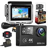 GeeKam Action Cam 4K 30fps/12MP wasserdichte Sport Kamera WiFi Doppelbildschirm Ultra Full HD 30M...