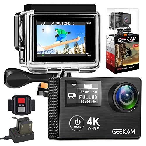 GeeKamAction Cam 4K 30fps/ 20MP wasserdichte Sport Kamera WiFi Doppelbildschirm Ultra Full HD 30M Unterwasserkamera 170° Weitwinkel Aktion Helmkamera mit Zwei 1050mAh Batterien und Zubehör