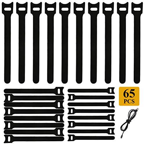 TIMESETL Reutilizables Velcro Presilla Cinta De Velcro bridas Negro Gancho Y Loop Correa Sujetador estilo Bridas Reusables Tiras