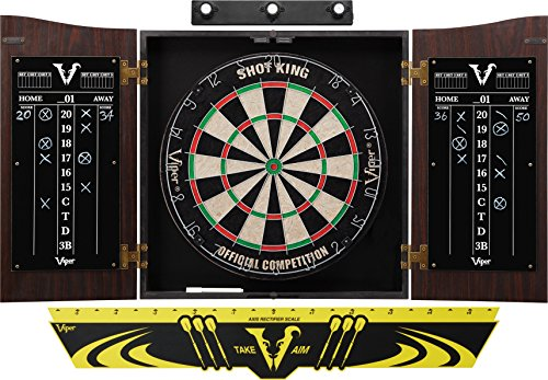 Viper Vault Cabinet & Shot King Sisal/Bristle Dartboard Ready-to-Play Bundle: Premium Set (Shot King Dartboard, Darts, Shadow Buster and Throw Line)