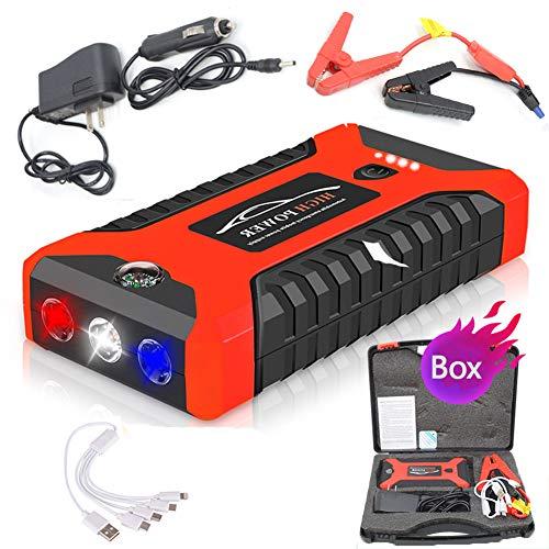 Auto Starthilfe Batteriestartgerät Power Bank 2000A Starthilfe Auto Buster Notfall Booster Starthilfe für Autoladegeräte,Red