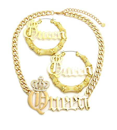Fashion 21 Women's Statement Queen Necklace, Bamboo Pierced Earring in Gold Tone (Queen Necklace + Earring Set)