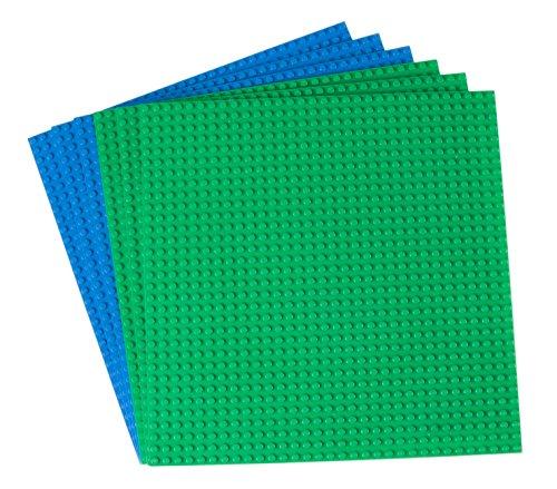 Strictly Briks Premium-Bauplatten - mit Allen großen Marken kompatibel - 6 Stück - 10 x 10 (25,4 x 25,4 cm) - Grün, Blau