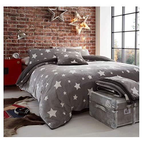 FAIRWAYUK Teddy Fleece Star Duvet Cover Set With Pillow Cases Quilt Bedding Set, Super Soft, Warm, Cozy, Poly Cotton, Easy Care, Grey, Double