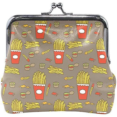 Portemonnee Fries met Saus Patroon Chips Muntportemonnee Pouches Lederen Change Houder Kaart Koppeling Handtas