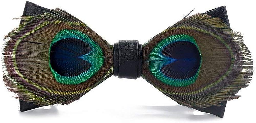 Feather Bowtie Men's Formal Wedding Handmade Natural Peacock Adjustable Leather Pre TiedNecktie