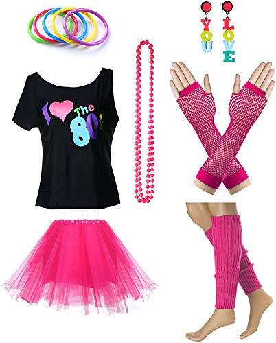 Womens I Love The 80s T-Shirt 80s Outfit Accessories(XL/XXL,Hot Pink)