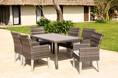 Backyard Furniture Copenhagen Rattan Wicker 6 Seat Square Dining Set with Cushions and Weatherproof Furniture Cover