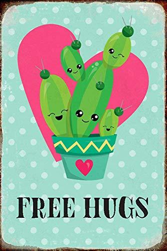 NWFS Spruch Free Hugs! Kaktus süß Blechschild Metallschild Schild Metal Tin Sign gewölbt lackiert 20 x 30 cm