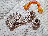 Babyschuhe + Turban gehäkelt crochet Baby Ballerinas erste Geburt babymútze Turban Hut Baby Wolle 0-3 Monate taupe