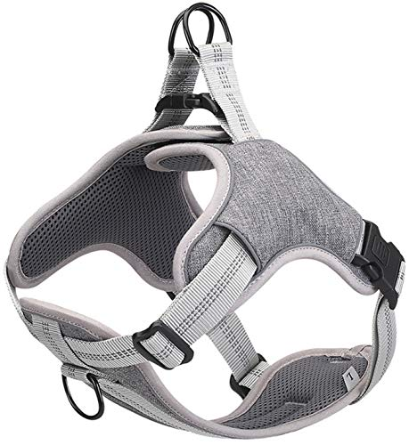 DHGTEP Arnés para Perros Reflective Nylon Padded Harnesses for All Seasons Nylon Dog Harness Vest Quick Release (Color : Gray, Size : XL)