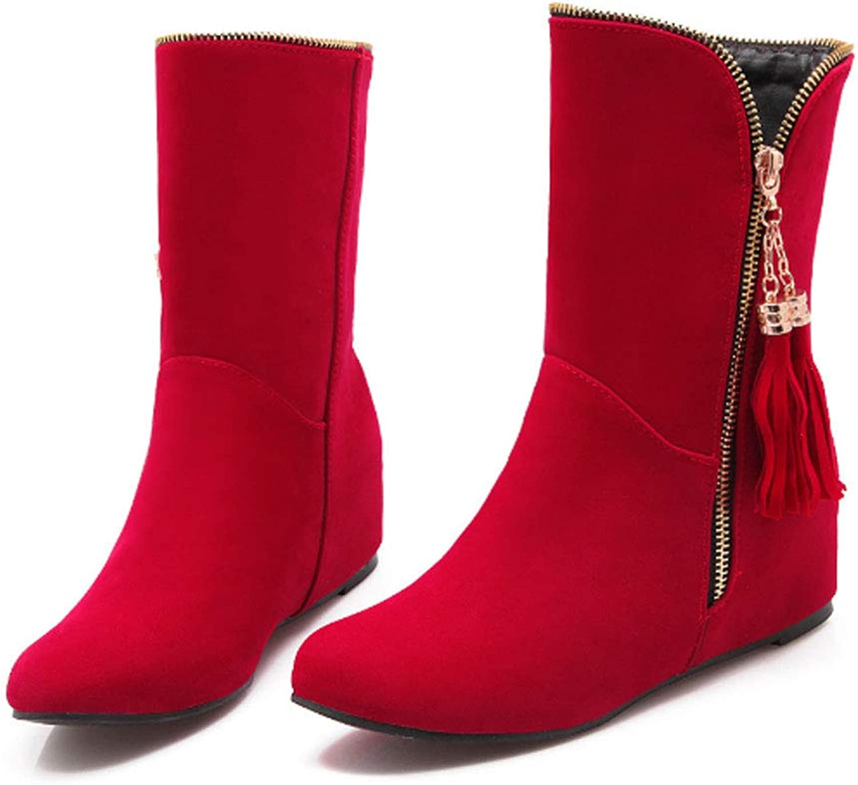 Women's Boots, Large Size Women's shoes Artificial PU Metal Zipper Decorative Tassel Flat Women's Boots Plush Lining Winter Warm Boots, Comfortable Casual shoes,Red,35