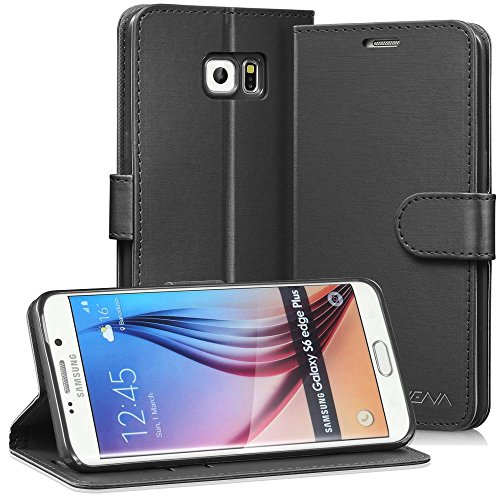 Galaxy S6 Edge+ Leather Wallet Case - VENA [vSuit] Draw Bench PU Leather Wallet Flip Cover with Stand and Card Slots for Samsung Galaxy S6 Edge+ (Jet Black)