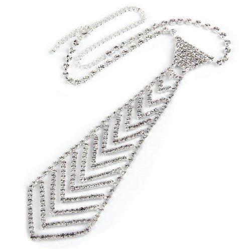 Ecloud Shop Versilbert Strass Halskette Halsschmuck mit Krawatte Anhänger Schlips Mode