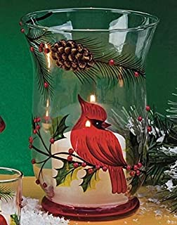 Biedermann & Sons Winter Glass Hurricane, 8-Inches Tall, 3-D Cardinal