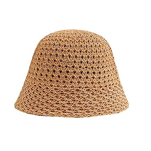 FMY Sombrilla de moda de las mujeres Tapas de pescador Sombreros Cuenca Sombrero al aire libre Cubo Sombrero de tejer Beach Turismo Sombreros Transpirable Sombrero de Sol