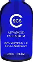 20% Vitamin C & E Ferulic Acid Serum for Face and Eyes - Rejuvenating Anti Aging Skin Repairer for Sun Damage, Dark Spots, Fine Lines, Crows Feet, and Wrinkles - Firms & Evens Out Skin Tone, 1 oz CSCS