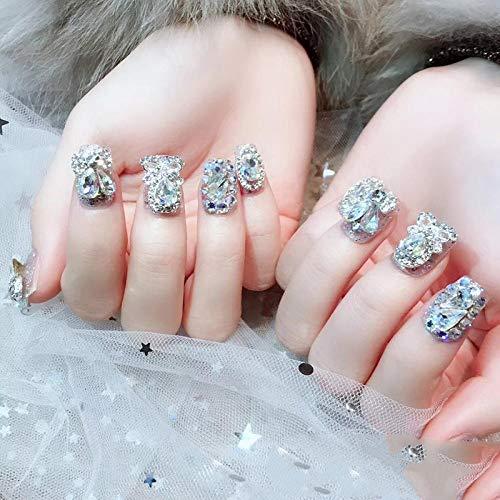 SRTYH Uñas postizas,Manicura usable con diamantes completos con adhesivos de uñas falsos para mujeres embarazadas disponibles y llevables