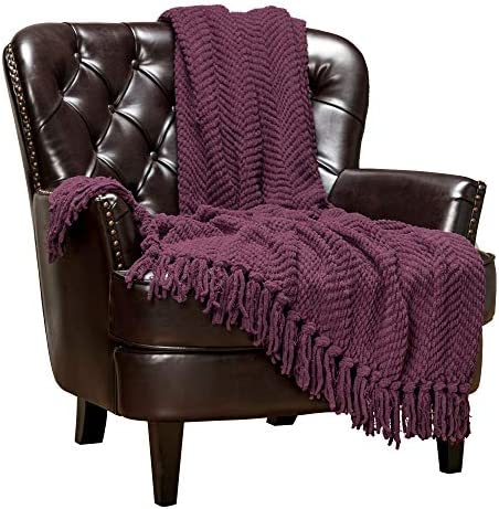 Best Chanasya Textured Knitted Super Soft Throw Blanket with Tassels Warm Cozy Plush Lightweight Fluffy B