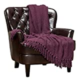 Chanasya Textured Knitted Super Soft Throw Blanket with Tassels - Plush Fluffy Cozy Knit - for Fall Couch Bed Sofa Living Room Framhouse Boho Dark Purple Accent Decor (50x65 Inches) Aubergine Blanket