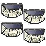 212LED Faretto da esterno solare,IP65 Impermeabile ,3 Modalità ,con Sensore di Movimento ,270° Cinque lati Illuminazione wireless Lampada Solare per Giardino,Wireless Risparmio Energetico (4 pezzi)