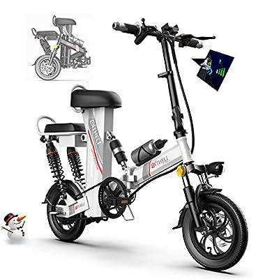 Elektrofahrrad Ebike, Mountainbike Klapprad 12 Zoll mit 48V 11Ah Lithium-Akku, 350 W Motor 30 km/h, Elektrische E-Bike MTB mit Smartphone-Halter LED Armaturenbrett für Herren Damen,Weiß