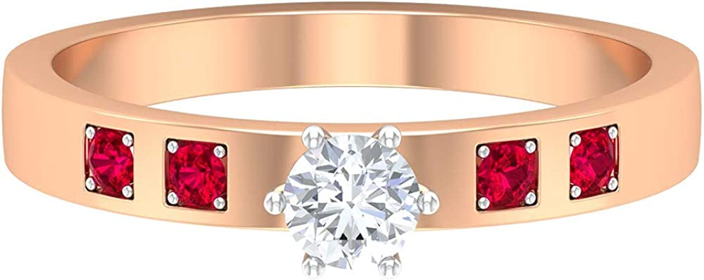 4 MM HI-SI Round Diamond Solitaire Ring, 1.8 MM Round Lab Created Ruby Ring, Gold Wedding Band (AAAA Quality), 14K Gold