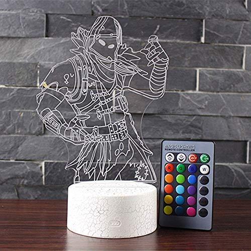 NHSUNRAY 3D illusione Lampada Notturna Lampada da Touch per la decorazione domestica della camera da letto (predatore)