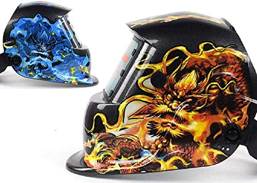 TAOTAO110 Headset automatische foto-elektrische lashelm, argon boog lassen zonne-vloeistof kristal masker, lasser gezichtsbescherming, vlam draak