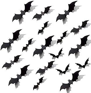 LinTimes Halloween vleermuis decoratie, 3D vleermuis muursticker sticker scatter decoratie geschikt voor bar, familie, par...