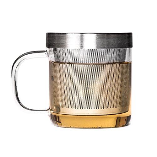 P & T Brewing Mug, Taza de Vidrio, Borosilicato, Resistente al Calor con Filtro de Acero Inoxidable (350ml / 11,8oz)