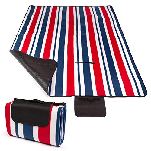 BESTIF Picknickdecke Wasserdicht 150 x 200 cm | Outdoor Campingdecke XXL | Fleece Stranddecke mit Tragegriff | Wärmeisoliert sanddicht Isolierend (Modell nr 47)