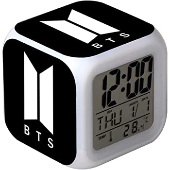 Despertador de Despertador BTS LED Digital Ilumina Relojes de Pantalla LCD para Habitaciones