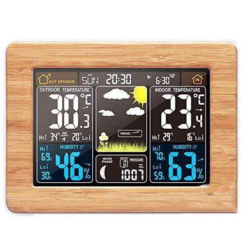 GRX-ZNLJT Estación meteorológica inalámbrica Termómetro Exterior para Interiores Higrómetro Reloj de pronóstico del Tiempo con Sensor Exterior Tiempo Temperatura Humedad Barómetro,Woodcolor