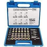CCLIFE 114pcs Juego de reparacion para rosca carter llaves para reparación de tapones de cárter M13-M22
