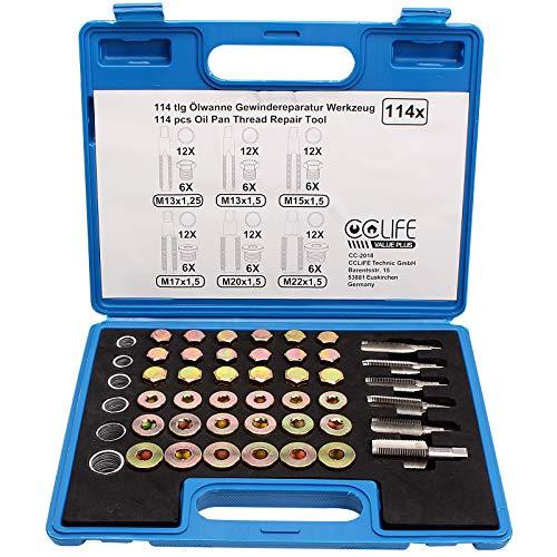 CCLIFE 114pcs llaves para reparación de tapones de cárter